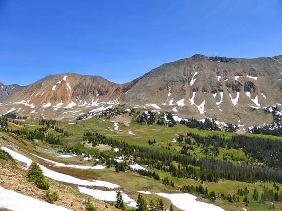 View of Baker Pass, Mt Nimbus and Mt Cumulus from the Continental Divide